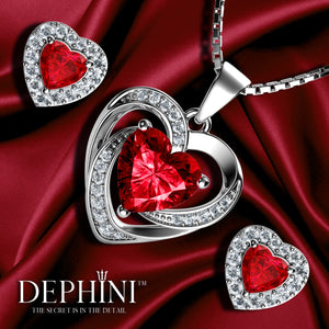 DEPHINI Red Heart Necklace & Heart Earrings SET - 925 Sterling Silver with CZ Crystals