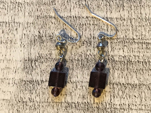 Purple Square Beads  Earrings -  by Treska