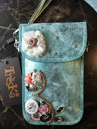 Micro Bag - Turquoise with Flowers & Buttons