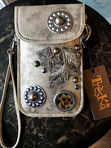 Micro Bag - Light Copper with Leaves & Buttons