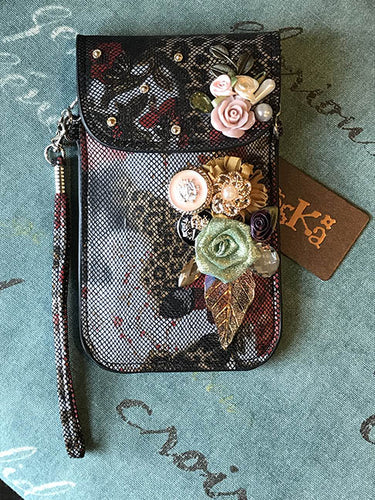 Micro Bag - Grey with Black Netting and Flowers