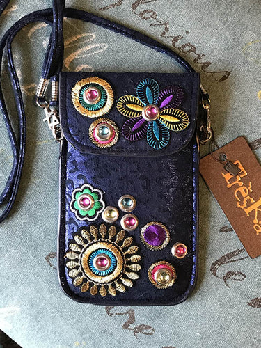 Micro Bag - Black with Stitched Flowers