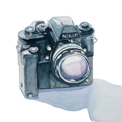 Nikon F3 35mm Camera, Watercolor Painting