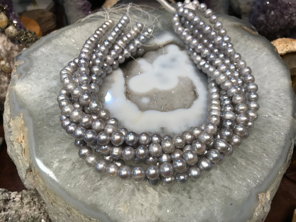 8mm Silver Gray Freshwater Pearls