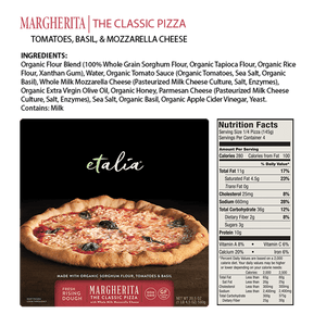 Highlights of the Etalia Margherita Pizza - front of box, ingredients, and nutrition facts
