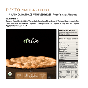 Highlights of the Etalia Nudo Naked Pizza Dough - front of box, ingredients, and nutrition facts