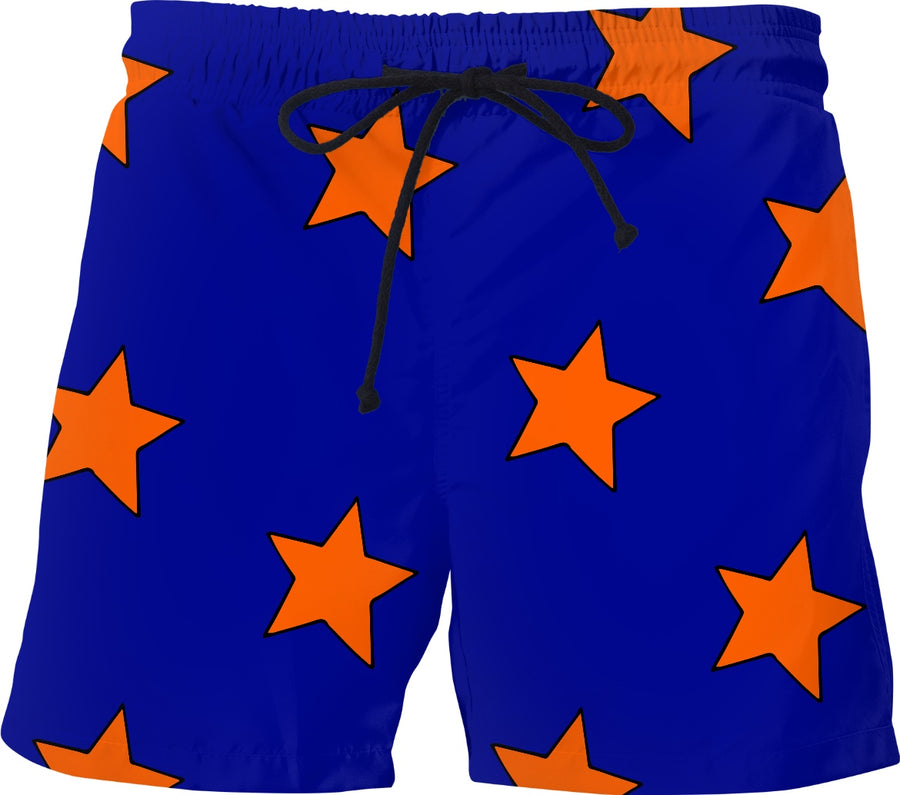 Big Orange Stars Blue Shorts