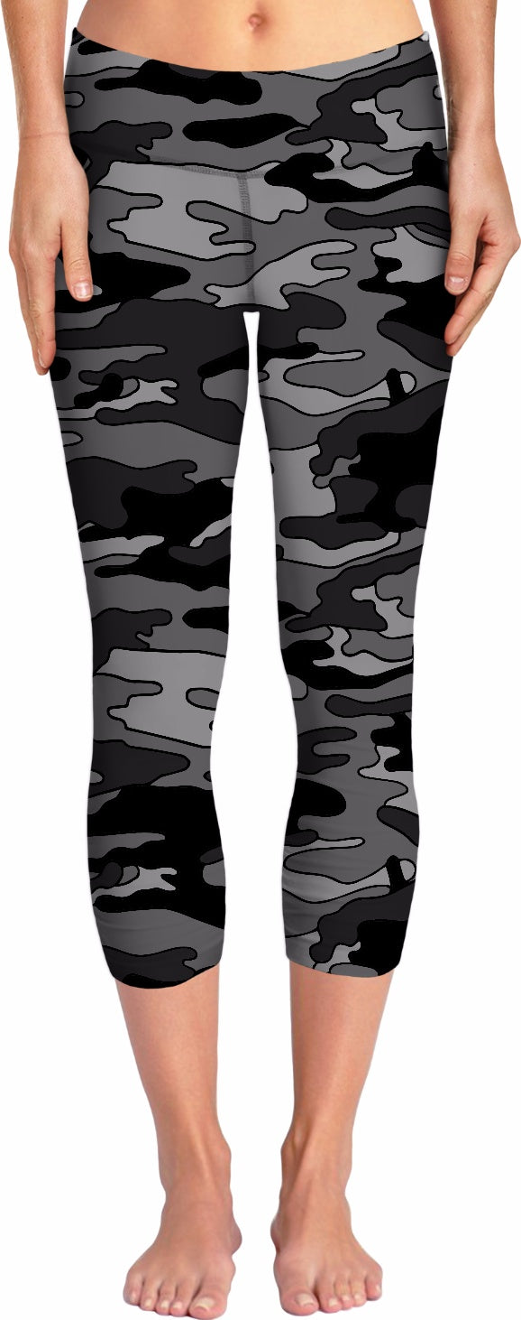 Black & Grey Camo Yoga Pants