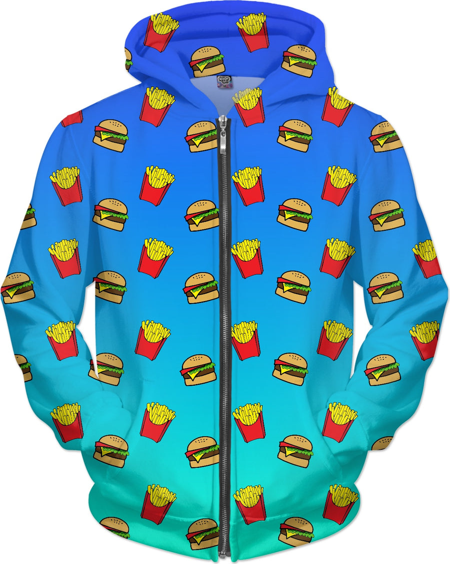 Burger & Fries - Blue Ombre Hoodie