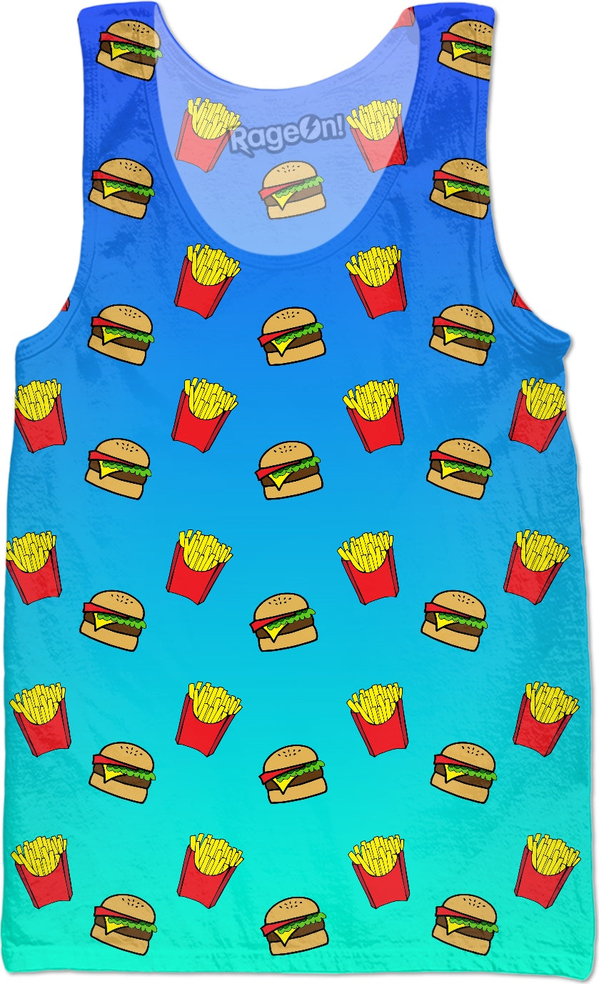 Burger & Fries - Blue Ombre Tank Top