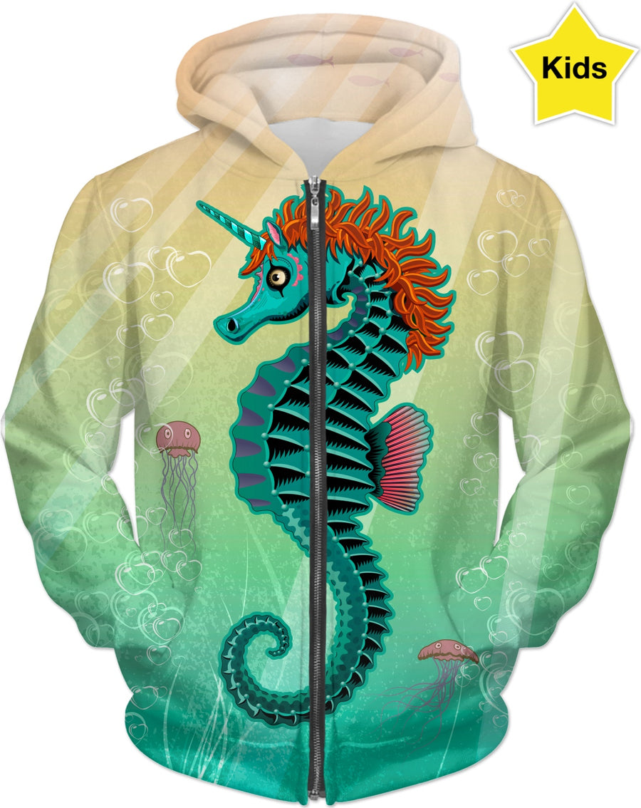 Sea Unicorn Custom Kids Hoodie