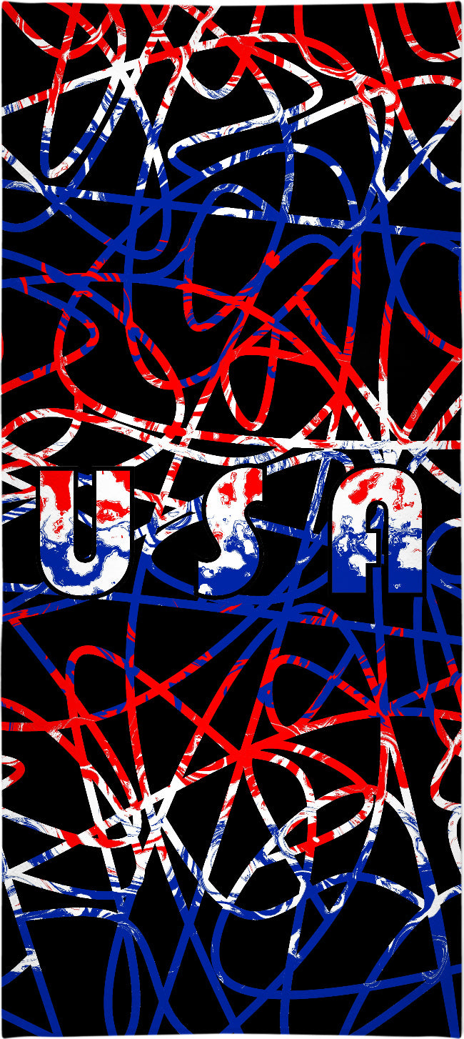 USA On Abstract Beach Towel
