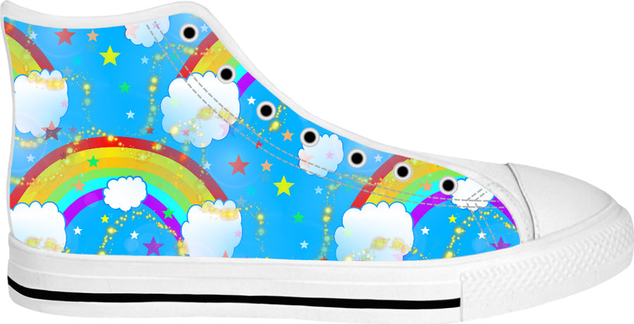 Somewhere Over The Rainbow White High Tops