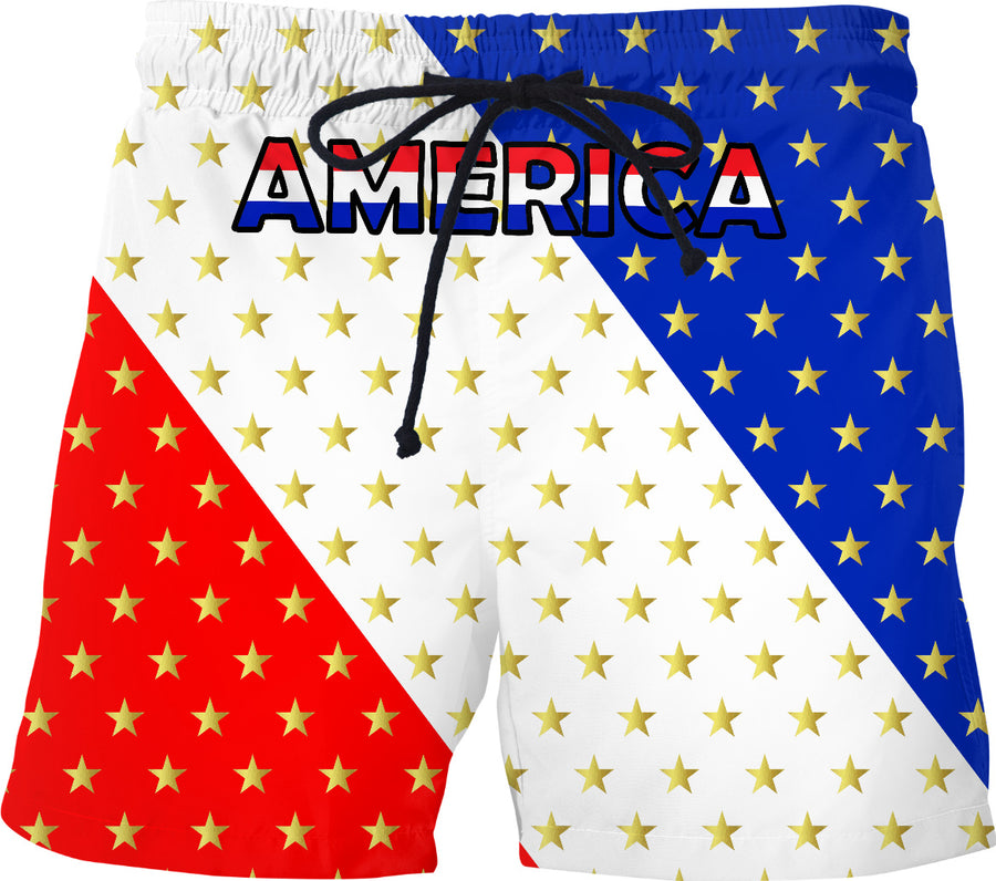 America Red White Blue With Stars Swim Shorts