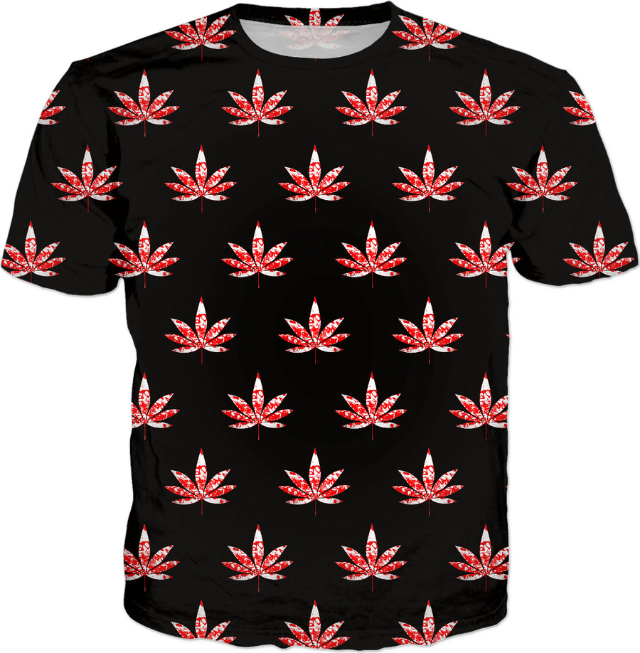 Canada Weed Pattern Black T-Shirt
