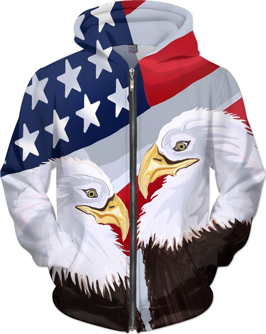 American Pride Through the Eyes of the Bald Eagle Hoodie - DistortionArt