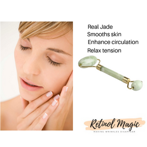 Real Jade Roller Massage Relaxation Facial Smoothing Anti Wrinkle - RetinolMagic