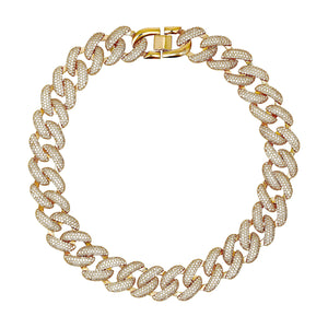 THE FALLON PAVÉ XL CURB CHAIN COLLAR NECKLACE. YOU'RE GOING TO LOVE THESE LINKS.  GLITTERING PAVÉ CHAIN COLLAR-LENGTH NECKLACE. FINE GOLD-PLATED BRASS WITH AAA CUBIC ZIRCONIA PAVÉ CRYSTALS.