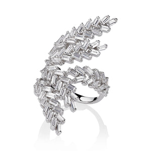 THE FALLON DECO FERN RING IN RHODIUM