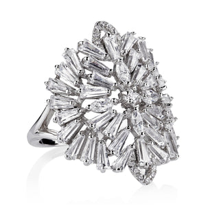THE FALLON DECO MEDALLION RING IN RHODIUM.  COCKTAIL HOUR AWAITS.