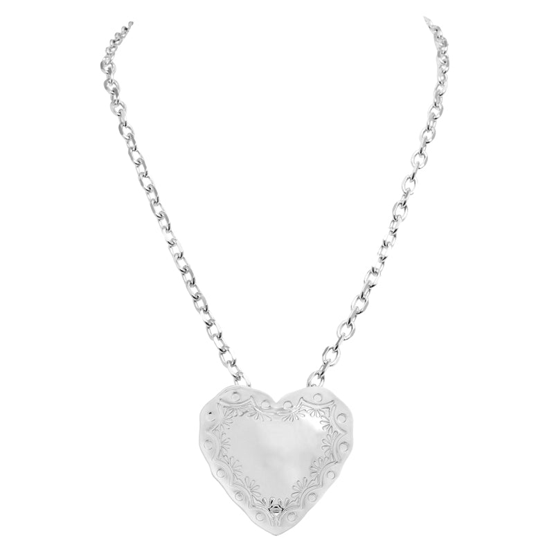 HEART PENDANT NECKLACE - RHODIUM