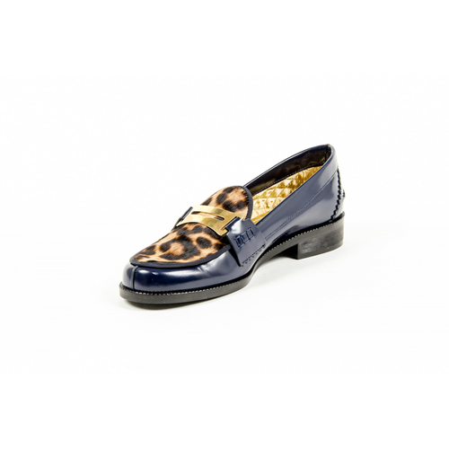 Avec Modration Womens Loafer FRIDA BLUE LEOPARD