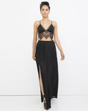 ETERNAL FLAME Pleated Maxi Skirt in Black at FLYJANE | Summer Vacation Outfits | Slit Skirt | Skirts with Slit | Black Pleated Skirt at FLYJANE
