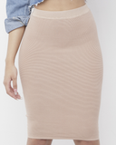EVALINA Ribbed Knit Pencil Skirt in Pink at FLYJANE | Blush Pink Bodycon Skirt | Curvy Skirt | Pink Pencil Skirt | Body Conversation Skirt | Pink Stretchy Skirt...