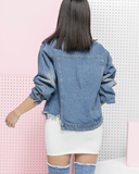 LARSA Cropped Denim Jacket at the #FADE Denim Shop at FLYJANE | Cropped Denim Jacket | Shop Streetstyle Denim Fashion for NOW at The #FADE Shop at FLYJANE