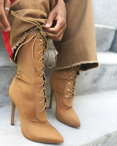 BAHLA LYCRA LACE UP ANKLE BOOT - TAN