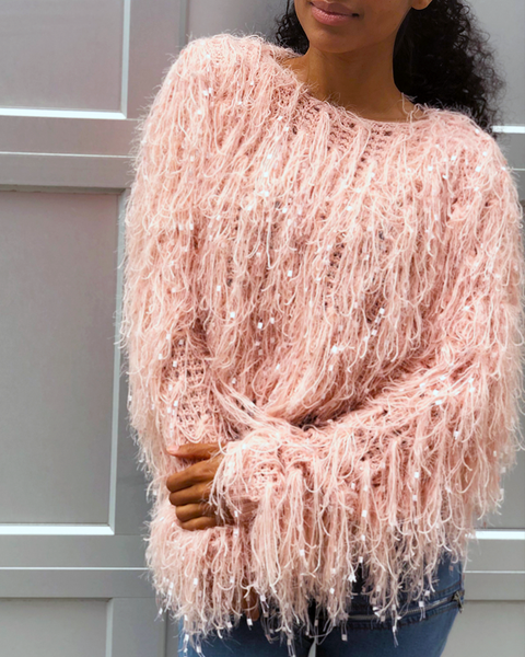 CANDY CRUSH Shaggy Sweater in Blush at FLYJANE | Pink Whimisical Shaggy Sweater for Fall at ShopFlyJane.com