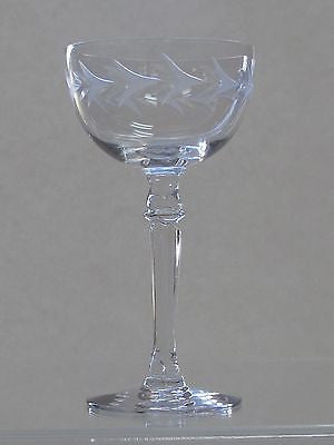 4 Fostoria Tall champagne glass Holly pattern Hand cut  Crystal  Made in USA - O'Rourke crystal awards & gifts abp cut glass