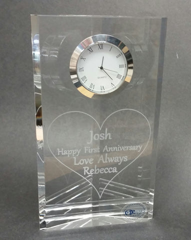 Anniversary glass clock Customize - O'Rourke crystal awards & gifts abp cut glass