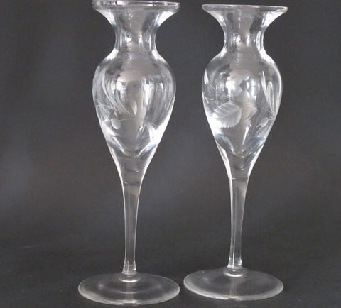Lenox HAND Cut glass bouquet candle sticks Pair Crystal  Made in USA - O'Rourke crystal awards & gifts abp cut glass