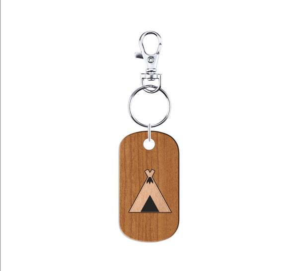 Campground Wood and Metal Keychain