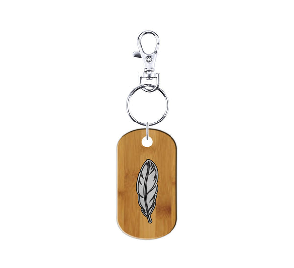 Feather Wood and Metal Keychain
