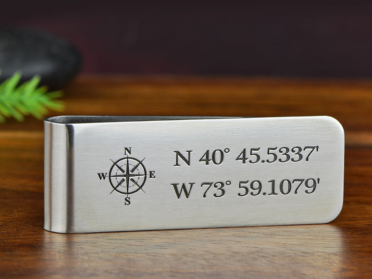 Personalized GPS Coordinates with compass money clip