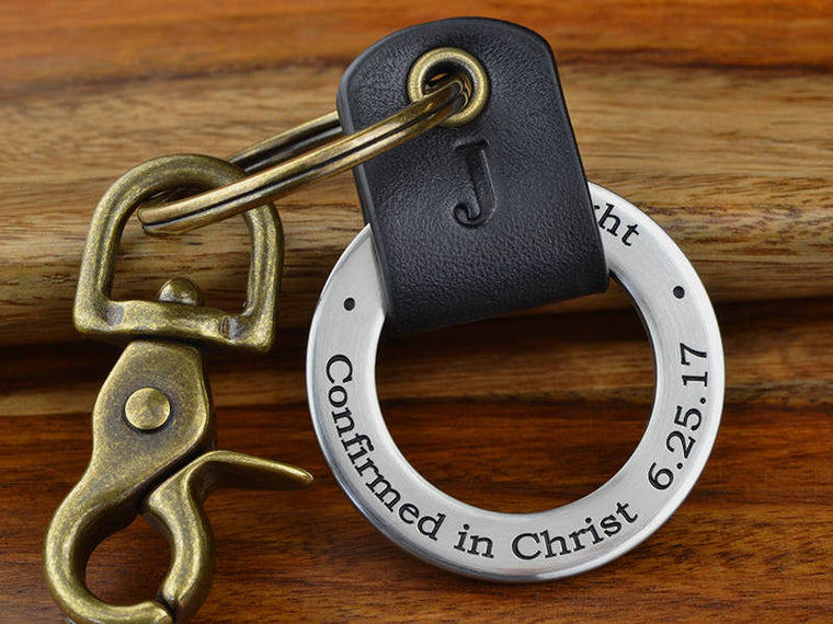 Personalized Confirmation Leather Keychain