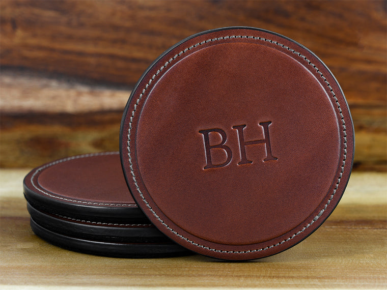 Personalized monogram coasters with your initials embossed