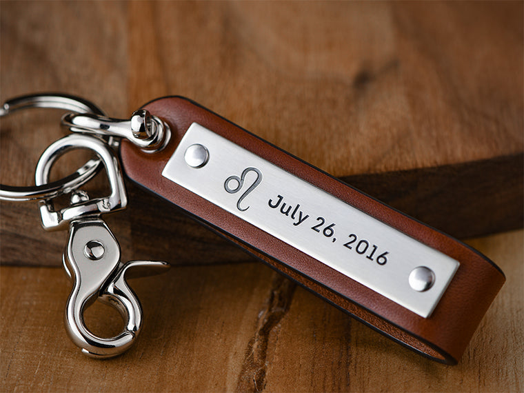 Personalized leather shackle horoscope keychain with birthdate