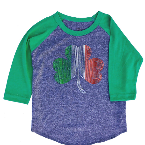 Youth St. Patrick's Day 3/4 Sleeve Studded Shamrock Flag Heather Grey & Green