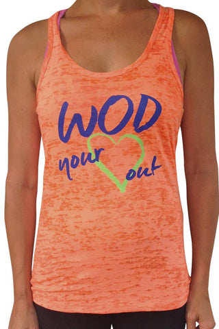 SALE - Women's Wod Your Heart Out Burnout Tank Orange