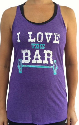SALE - I Love This Bar Purple Tri Blend Tank