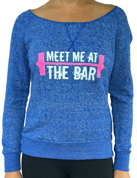 Meet Me At The Bar Blue Terry Off The Shoulder Long Sleeve