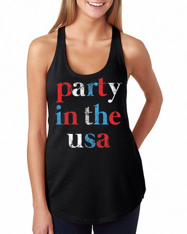 Party In The USA Racerback Black Tank Top