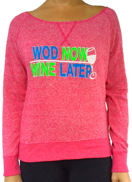 Wod Now Wine Later Watermelon Terry Off The Shoulder Long Sleeve
