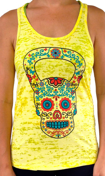 Kettlebell Skull Yellow Burnout Tank