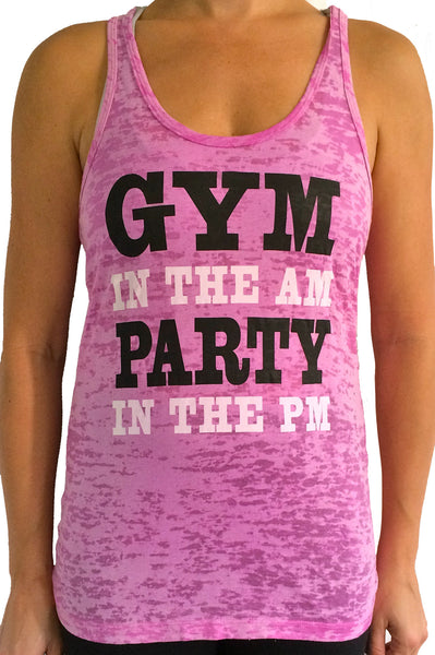 SALE- Gym In The AM Party PM Fuchsia Burnout Tank Top