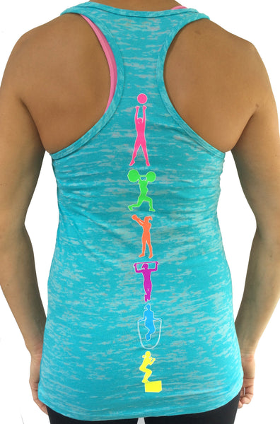 Fitness Moves Teal Burnout Tank