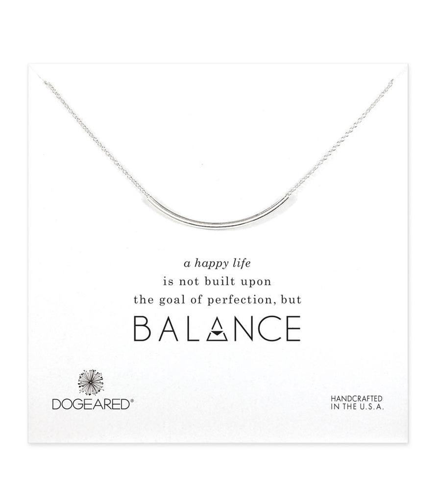 Dogeared, Balance Curved Tube Necklace, Sterling Silver 18 inch